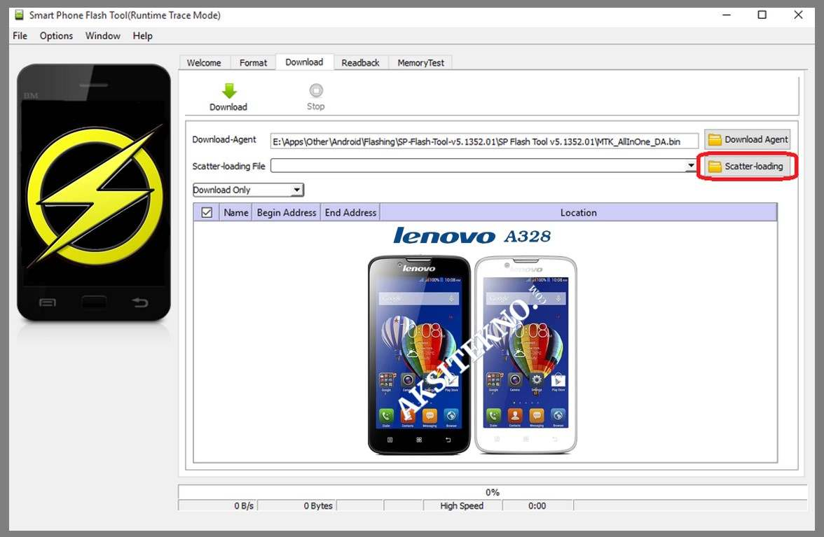 Cara Flash Lenovo A328 dengan SP Flashtool