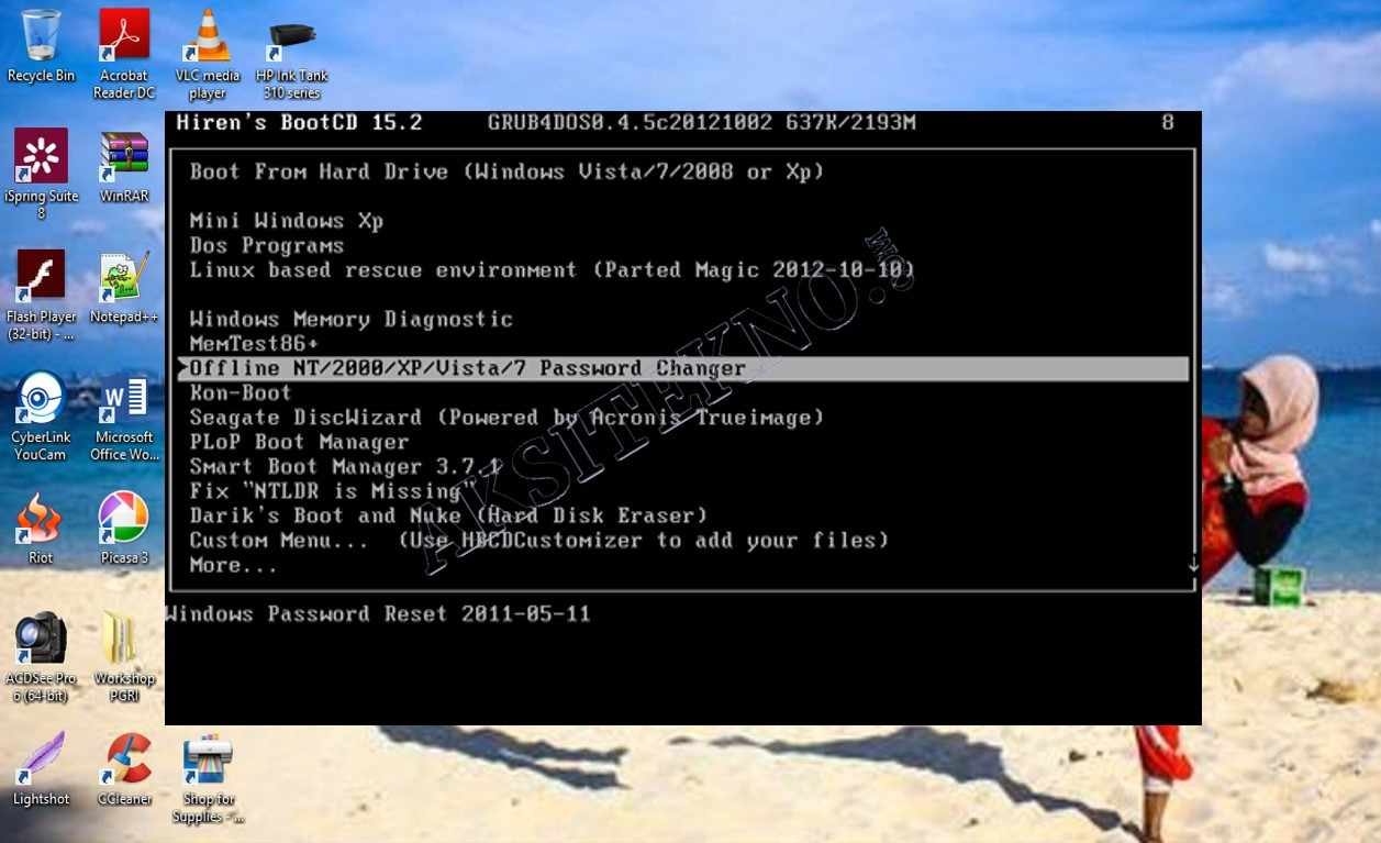 Cara Reset Password Windows 10 dengan Hiren Boot